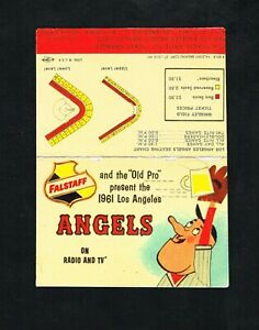 1961 Los Angeles Angels Falstaff Beer 1st Year Baseball Foldout Pocket Schedule