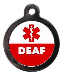 Pet ID tag ICE Keyring tag Medical alert DEAF & Staff of Asclepius personalised
