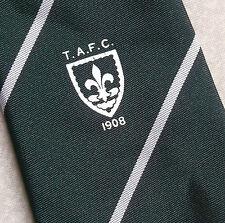 TAFC T.A.F.C. FOOTBALL CLUB SPORTS TIE VINTAGE 1908 1970s GREEN WHITE STRIPED