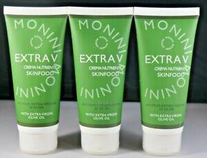 3X Monini Extra V Skin Food 3.38 oz With Extra Virgin Olive Oil 3.38 Fl Oz