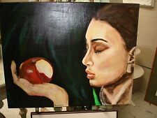 Oil Paint On Canvas, Hand Painted,  Eve and her apple