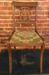 Vintage Antique Tell City Wood Side Dining Accent Chair Phyfe Chippendale Lyre