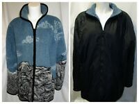 Outbrook REVERSIBLE JACKET/Coat Fleece/Nylon Blue/Black Graphic 2-Way Zip Size L