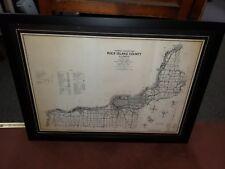 ROCK ISLAND, ILLINOIS COUNTY MAP CIRCA 1965 PROFESSIONALLY FRAMED