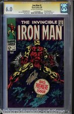 IRON MAN #1 CGC 6.0 OWW SS STAN LEE SIGNED IN GOLD CGC #1279195008