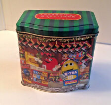 Collectible M & M Candy Tin Can Container Seasons Greetings Chocolate Candy 2001