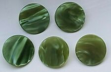 5 large vintage iridescent green buttons - 38mm shanked