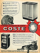 PUBLICITE ADVERTISING 035  1962  COSTE    le poele à charbon du chat