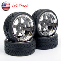 US 4X 1:10 Rubber Tires&Wheels Rims PP0038+PP0150 For HPI HSP On Road Racing Car