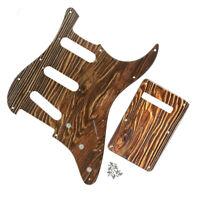 1 Set Holzfarbe Strat SSS Gitarre Schlagbrett 11Löcher Scratchplate + Rückplatte