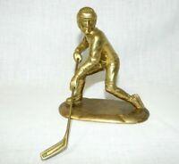 Vintage San Pacific Heavy Brass Hockey Player Figure Sculpture statue SPI