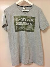 Men's G-Star ORGINALS RAW Grey Cotton Camo Graphic Print T-Shirt Top Size S