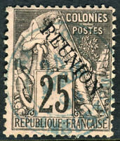 Reunion 1891 French Colony 25¢ Black SG #24 VFU N916