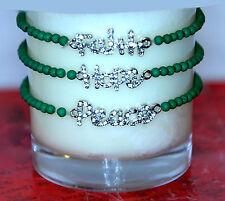 3pc Little Girl's Faith Hope Peace Rhinestone Word Message Green Bead Bracelet