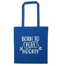Born to play hockey, tote bag ice hockey sticks player sport puck gift bag 5499