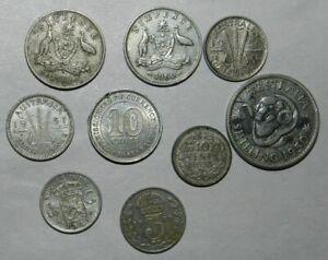 9 X SILVER COINS - Includes Australian Pre-Decimal