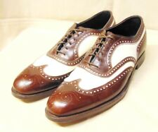 Vtg Brown & White Leather Spectator Wing Tip Oxford Lace-up Shoes 8.5A