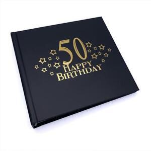50th Birthday Black Photo Album Gift With Gold Script