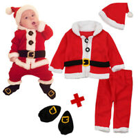 BEST 4Pcs Christmas Baby Santa Costume Hat+ Tops+ Pants+ Shoe Set Unisex Outfits