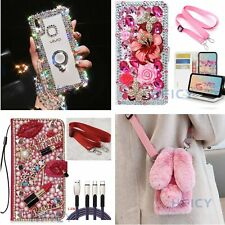Girls' Women Bling Diamonds Case Wallet phone Cover & Crystal Crossbody Strap B