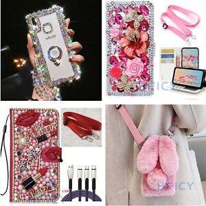 Girls' Women Bling Diamonds Case Wallet phone Cover & Crystal Crossbody Strap A