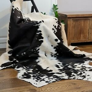 Cow hide, hand crafted soft hair-on Animal skin real leather rug   Brown & White