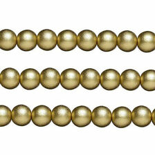 Wood Round Beads Gold 8mm 16 Inch Strand