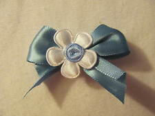 Blue with White Flower Dog Puppy Pet Hair Bow Ribbon on Alligator Clip