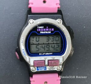 1996 TIMEX Ironman Triathlon 756 D1 Indiglo 50 Lap Memory 32mm watch New Battery
