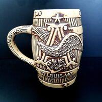 Budweiser Barrel Beer Mug Stein St. Louis Missouri Ceramarte Brazil Eagle