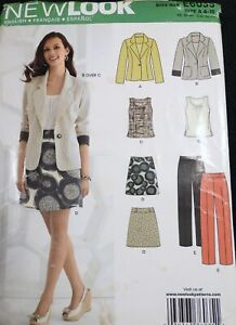New Look 6035 Short Skirt Fitted Jacket Pants Blouse SEWING PATTERN UnCut 4-16
