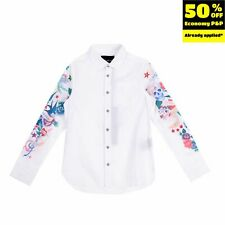 RRP €120 JOHN RICHMOND Shirt Size 8Y Patterned Sleeves Rhinestones Round Hem