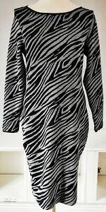 Mint Velvet Women's Dress Black Grey Size 14 Zebra Stretch Work Office Ribbed
