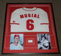 Stan Musial Signed Framed 33x36 Jersey & Photo Display PSA/DNA Cardinals