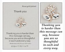 Equilibrium Thank You Sentiment Pin Brooch Rose Gold Plated New 59603
