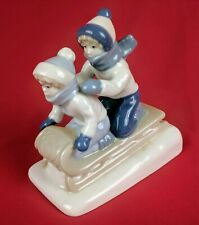Paul Sebastian Children Sledding Porcelain Figurine Porcelana de Cuernavaca 1992