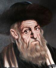 Gussich Antiques Judaica Israel Oil Painting Rabbi Jewish Hasidic Jerusalem