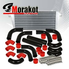 """Auto Turbo 31"""" Intercooler & 3"""" inch 12 Piece Aluminum Piping Kit Pipe Black/Red"""