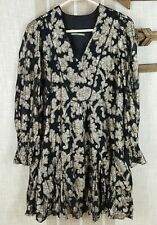 Anthropologie Floral Gold Metallic Swing Dress Tunic Cocktail Puff Sleeve Size S