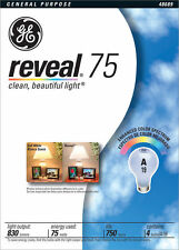 New Reveal Ge Incandescent 75 Watt Lighting Bulbs ( 2 x 4 Packs = 8 Bulbs)