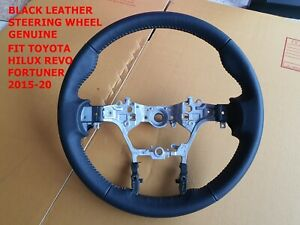 STEERING WHEEL BLACK LEATHER FIT TOYOTA HILUX REVO FORTUNER 2015-20