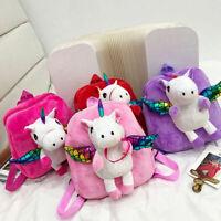 Women Girls Cute Unicorn with Plush Wing Backpack Kids School Rucksack Bag C8X6K