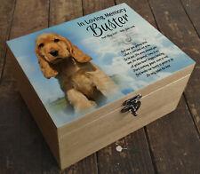 Wooden box casket urn, ashes box, memory box, Cocker spaniel dog