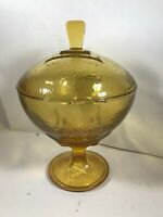 Vintage Amber Glass Footed Covered Candy Dish Compote Diamond