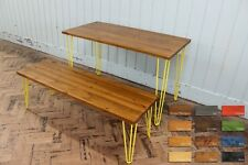 Rustic Retro Industrial Wood Dining Table With Bench Metal Hairpin Legs