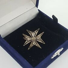 VINTAGE/ANTIQUE Maltese Cross Brooch Pin 800 Foreign Silver Stamped Malta