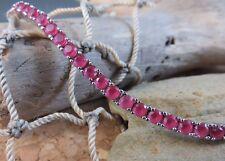 "Genuine 5.00 ctw Cherry Red Ruby Tennis Bracelet 925 Sterling Silver 7.5"""
