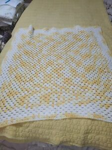 Vintage Crochet Afghan Throw Blanket Small Size Baby Blanket Yellow and White