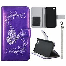 Wallet Silver Butterfly Purple For Apple Iphone 5C Syn Leather Case cover ID Pou
