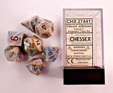 Chessex 7 Dice Set Festive Vibrant w/ Brown CHX 27441 for D&D & D20